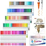 120 Colors Dual Tip Brush Art Marker Pens with 1 Coloring Book,Shuttle Art Fine and Brush Dual Tip Markers Set for Bullet Jou