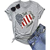 NENDFY American Flag Heart T Shirt Faith Family Freedom Patriotic Tees for Women 4th of July USA Flag Casual Tops Shirts