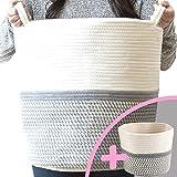 "Little Hippo 2pc Large Cotton Rope Basket, White (16""x15"") 100% Natural Cotton! Laundry Basket, Woven Storage Basket, Blanket"