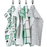 IKEA/イケア RINNIG/リンニング:キッチンクロス45x60 cm 4枚セット ホワイト/グリーン(904.763.57)