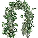 MiraiLife 6.5 Feet Artificial Eucalyptus Leaves Garland Faux Silver Dollar and Willow Vines Twigs Leaves Garland for Wedding