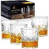 CREATIVELAND Double Old Fashioned Whiskey Glasses Set of 4 Vintage Scotch Glasses, Cocktail Glasses, Rocks Glasses, Bourbon G