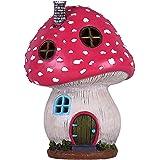 TERESA'S COLLECTIONS Mushroom Fairy Garden House Statue Accessories with Solar Light,Fairy Garden Cottage Figurines Sculpture