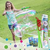 WOWmazing Giant Bubble Wands Kit: (3-Piece Set) | Incl. Wand, Big Bubble Concentrate and Tips & Trick Booklet | Outdoor Toy f
