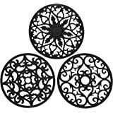 Smithcraft Black Silicone Trivets for Hot Pots and Pans,Hot Pads for Kitchen Counter,Pot Holders, Heat Resistant Multi-Use In