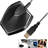 Neewer Driver-Free USB Desktop Computer Microphone - Touch Mute Button with LED Indicator, Omnidirectional Condenser Boundary