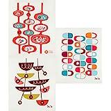 Trendy Tripper Reusable Swedish Dishcloths/Sponge Cloths, Set of 3 Mid-Century Modern Designs (Pods, Slicers + Pendants) by J