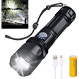 P50 Rechargeable Led Flashlight, Super Bright tactical Flashlights with Batteries Included, Zoomable, 5 Modes, Waterproof Fla