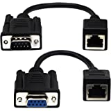 CGTime RJ45 to RS232 Cable, DB9 9-Pin Serial Port Female&Male to RJ45 Female Cat5/6 Ethernet LAN Console(15CM/6Inch) 2Pack
