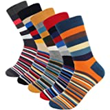 Hoyols Men's Dress Casual Colorful Stripe Cotton Socks Patterned Business Long Socks (5 Packs)