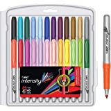 BIC Intensity Permanent Fine Point Markers - Pack of 24 – Assorted Fashion Colours, Low Odour, Non Toxic, Snap Lock Cap, Non