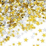 60 g Star Confetti Glitter Star Table Confetti Metallic Foil Stars for Party Wedding Festival Decorations (Gold Silver 60g, 1