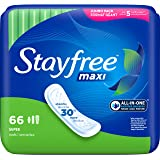 Stayfree Maxi Pads for Women, Super - 66 Count
