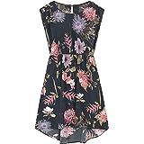 LaVieLente Floral Pattern Hi-Lo Dresses with Cap Sleeve, Elastic Waist and Asymmetric hi-Low Designs