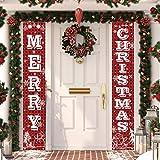 MAIAGO Christmas Decorations - Merry Christmas Hanging Banners - Red Buffalo Check Plaid Christmas Porch Signs - Xmas Decor B