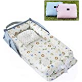 AVSIL Portable Baby Nest with Pillow, Newborn Baby Lounger with Foldable Bag (Blue)