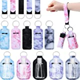 20 Pieces Travel Bottle Keychain Holders Set, Includes 5 Chapstick Holder, 5 Keychain Wristlet Lanyards, 5 Marble Style Lipst