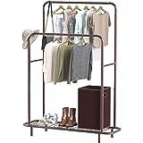 Simple Houseware Double Rod Clothing Garment Rack with Bottom Shelves, Bronze