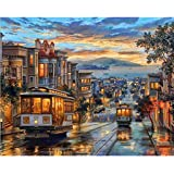 油絵 数字キット 手塗り デジタル油絵 DIY絵 数字油絵 数字キットによる 子供の塗り絵 家の装飾のギフト レトロバス 40*50CM