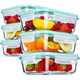 YEBODA Glass Food Storage Containers with Airtight Snap Locking Lids BPA Free Meal Prep Container Set for Home Kitchen Restau