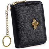 Women's Small Credit Card Holder Wallet, Leather Zipper Card Case, RFID Blocking, Key Chain