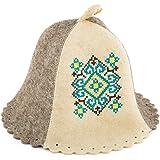 Eden Ukraine Wool Sauna Hat Embroidered Ukrainian Ornament Blue