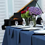 """Kadut Rectangle Tablecloth - 90 x 132 Inch – Navy Blue Rectangular Table Cloth for 6 Foot Table in Washable Polyester – 30"""" D"""