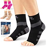 Powerlix Nano Socks for Neuropathy (Pair) for Women & Men, Ankle Brace Support, Plantar fasciitis socks, Toeless Compression