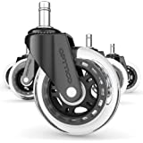 Office Chair Caster Wheels Replacement - Set of 5, No More Desk Roller Mat. Get Ultimate NO-SCRATCH FLOOR PROTECTOR with the