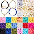 3800 Pcs Flat Round Polymer Clay Spacer Beads for Jewelry Making Bracelets Necklace Earring DIY Craft Kit with Pendant and Ju