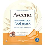 Aveeno Repairing CICA Foot Mask with Prebiotic Oat and Shea Butter, Moisturizing Foot Mask for Extra Dry Skin, 1 Pair of Sing