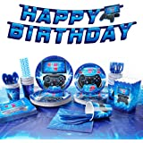 """Decorlife Video Game Party Supplies for 24, Birthday Decorations for Boys, Total 200PCS, 54"""" x 108"""" Gamer Table Cloth, Popcor"""