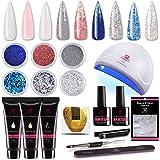 Makartt P-09 Nail Extension Gel Nail Starter Kit with 6pcs Beautiful Glitter Powders, 3pcs Builder Gel, 24w Quick Nail Dryer