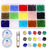 Rustark 4mm 1800 Pcs Crystal Glass Beads Bicone Shaped Faceted Findings Spacer Charm Beads Assorted Coating Colors with Conta