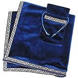 INIBUD タロットクロス ベルベット タロットカード用 ポーチ付 65×65cm 占い 高級 厚手 (ブルー)