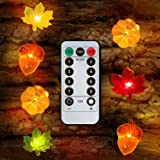 Decoration Led String Lights, Thanksgiving 3D Pumpkin Maples Acorns String Lights , 10ft 30LEDs Battery Powered with Remote C