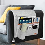 Simboom Sofa Remote Holder Hanging Couch Caddy with 5 Pockets, Bedside Sofa Storage Pocket for Laptop, iPad, Magazines, Books