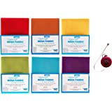 "ByAnnie's Mesh Fabric Lightweight Rainbow Bundle- Atomic Red, Pumpkin, Dandelion, Apple Green, Parrot Blue and Tahiti18"" x 54"