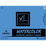Canson Canson XL Series Watercolor Textured Paper Pad for Paint, Pencil, Ink, Charcoal, Pastel, and Acrylic, Fold Over, 140 P