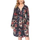 IN'VOLAND Plus Size Women Waffle Bathrobe Lightweight Kimono Robes Spa Robes Sleepwear Loungewear