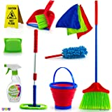 Play22 Kids Cleaning Set 12 Piece - Toy Cleaning Set Includes Broom, Mop, Brush, Dust Pan, Duster, Sponge, Clothes, Spray, Bu