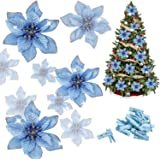 Whaline 24 Pcs Blue Poinsettia Artificial Christmas Flowers with 24 Pack Clips, Glitter Christmas Tree Ornaments Xmas Wedding