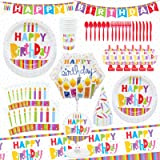Premium 75Pcs Birthday Party Supplies Set Tableware Decorations for 6 Guests Disposable Tablecloth Paper Plates Napkins Cups
