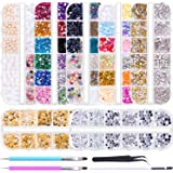 Duufin 10014 Pcs Nail Art Rhinestones Nail Crystal Gems Nail Jewels Nail Diamonds with 1 Pc Pick Up Tweezers 1 Pc Brush Pen a