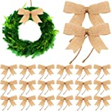 24 Pieces Burlap Bows Decorative Christmas Bows Knot Ornament Bows Small Linen Handmade Wreath Bow for Christmas Tree Decorat