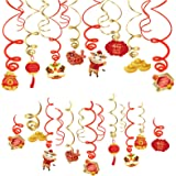 30 Pieces Chinese New Year Hanging Foil Swirl Decorations Year of The Ox Hanging Swirls Ceiling Hanging Spiral Decor for Indo