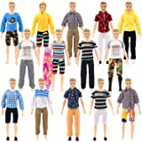 SOTOGO 27 Pieces Doll Clothes Set Include 12 Set Doll Casual/Career Wear Clothes Jacket Pants Outfits with Surfboard and 4 Pa