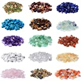2000 Pcs Chip Gemstone Beads DIY Jewelry Making, Healing Engry Crystals Polishing Crushed Irregular Shaped Beads with Box (15