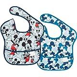 bumkins(バンキンス) ディズニーコラボビブシリーズ 油が落ちるスタイ2枚セット【日本正規品】スーパービブ 柔らかくて軽量 洗濯機で洗えてすぐ乾く お食事用防水ビブ 6~24ヶ月 Mickey(ブルー) BM-S2DMK1