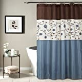 Lush Decor Royal Garden Shower Curtain, 72 X 72 Inches, Blue